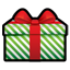 Gift green stripes icon