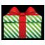 Gift green stripes icon
