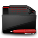 Folder Documents black red-128
